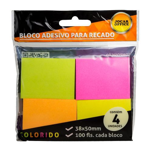 BLOCO ADESIVO PARA RECADO - 91115 - JOCAR OFFICE - PACOTE C/4 UNIDADES DE 100 FOLHAS