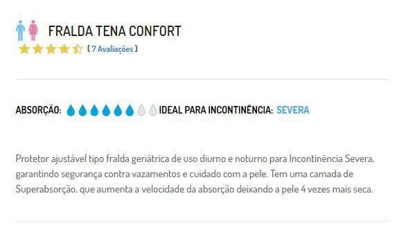 FRALDA CONFORT  7 UNIDADES TAM EG - TENA