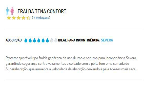 FRALDA CONFORT 8 UNIDADES  TAM G  - TENA