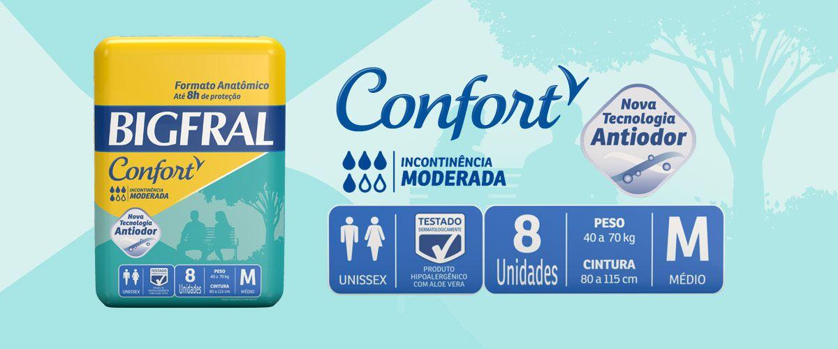 FRALDA CONFORT  PACOTE COM 8 UNIDADES - BIGFRAL - TAM M