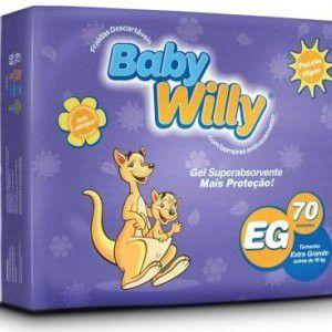 FRALDA INFANTIL - PACOTE HIPER COM 70 UNIDADES - TAM EG - BABY WILLY