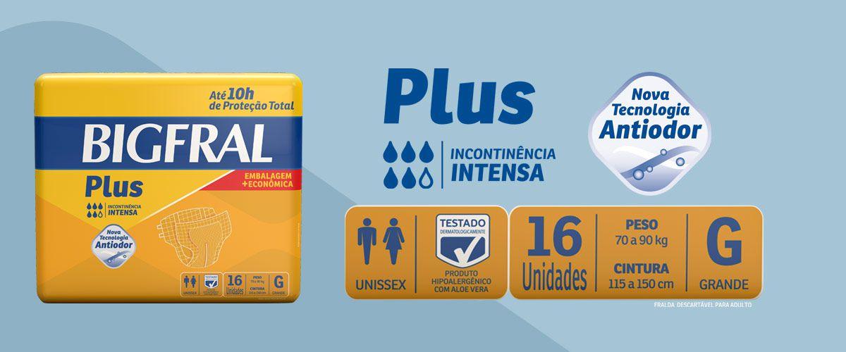FRALDA PLUS PRATICA ECONÔMICA PACOTE COM 16 UNIDADES - BIGFRAL - TAM G