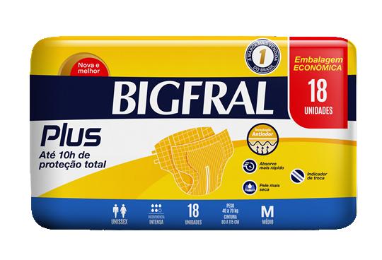 FRALDA PLUS PRATICA ECONÔMICA PACOTE COM 18 UNIDADES - BIGFRAL - TAM M