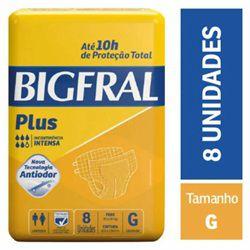 FRALDA PLUS NORMAL PACOTE COM 8 UNIDADES - BIGFRAL - TAM G