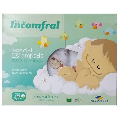 FRALDAS INCOFRAL ESTAMPADA PARA MENINOS CX COM 5 UNIDADES - INCOMFRAL