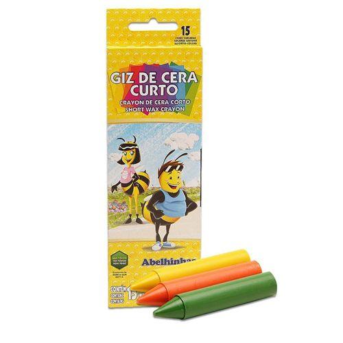 GIZ DE CERA CURTO 68G - 09215 - ACRILEX - CAIXA C/15 CORES
