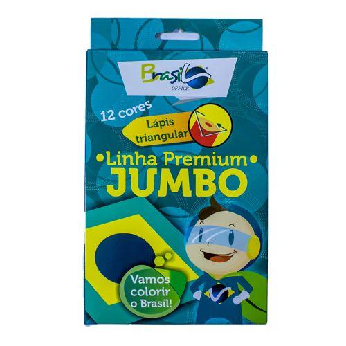 LÁPIS DE COR 12 CORES JUMBO TRIANGULAR - BB30011-12C - BRASILOFFICE - CX 1