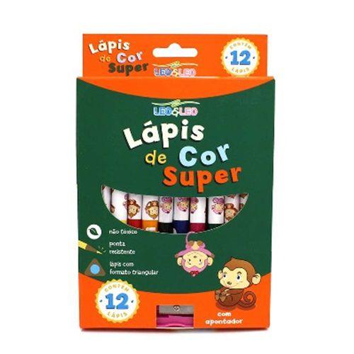 LÁPIS DE COR SUPER 12 CORES -  4393 - LEO & LEO - CX 1