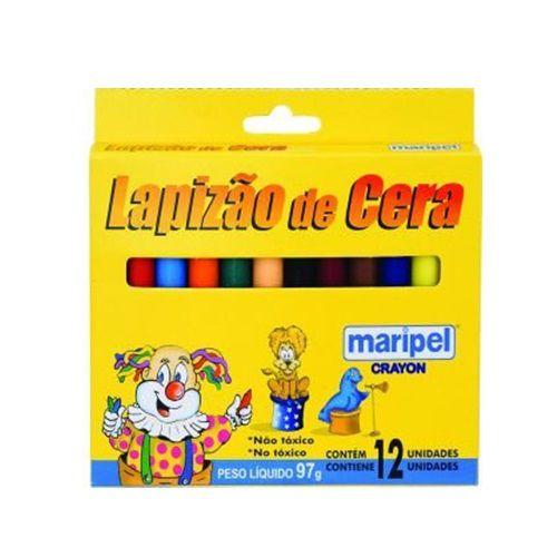 LAPIZÃO DE CERA COM 12 CORES SORTIDAS - DZ - 12 - MARIPEL