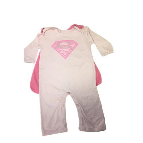 MACACÃO MANGA LONGA SUPER GIRL ROSA TAM EG - GET BABY