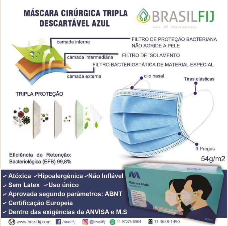 MÁSCARA CIRÚRGICA TRIPLA DESCARTÁVEL AZUL - CX C/ 50 UNIDADES - MASK PROTECT