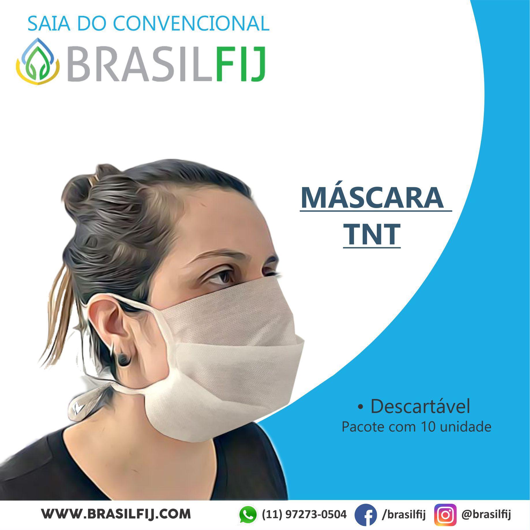 MÁSCARA FACIAL TNT - PACOTE COM 10 UNIDADES - BRASILFIJ