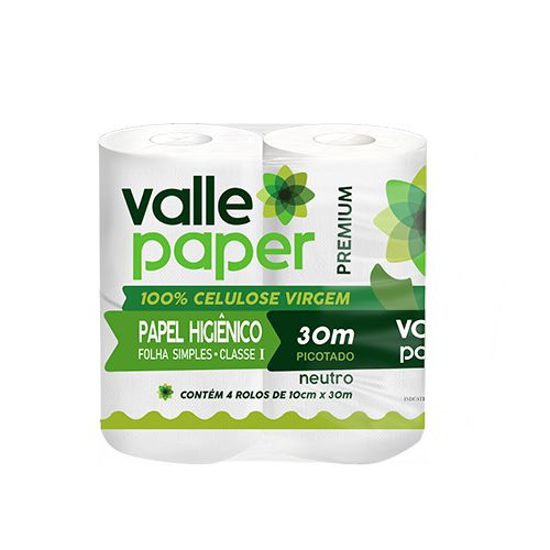 PAPEL HIGIÊNICO - FARDO 4 ROLOS - FOLHA SIMPLES - VALLE PAPER