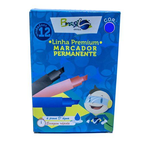 PINCEL MARCADOR PERMANENTE AZUL - BB80073-AZ - BRASILOFFICE - CAIXA C/12 UNIDADES