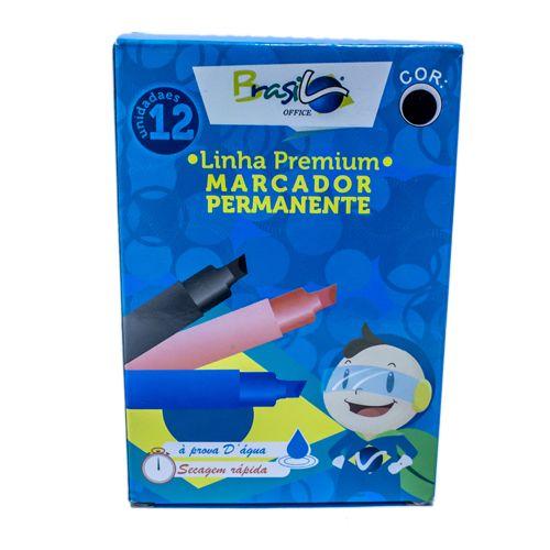 PINCEL MARCADOR PERMANENTE PRETO - BB80075-PR - BRASILOFFICE - CAIXA C/12 UNIDADES