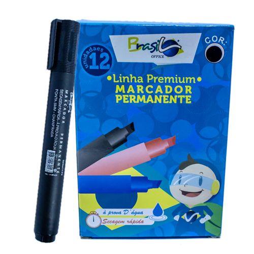 PINCEL MARCADOR PERMANENTE PRETO - BB80075-PR - BRASILOFFICE - UNIDADE