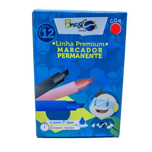 PINCEL MARCADOR PERMANENTE VERMELHO - BB80074-VM - BRASILOFFICE - CAIXA C/12 UNIDADES