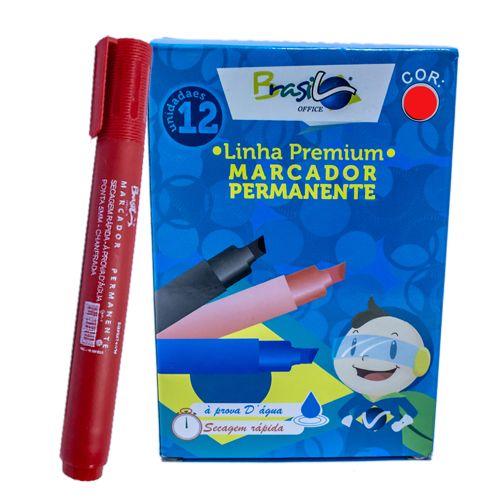 PINCEL MARCADOR PERMANENTE VERMELHO - BB80074-VM - BRASILOFFICE - UNIDADE