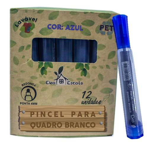 PINCEL QUADRO BRANCO EKO COR AZUL - BE10039-AZ - EKOESCOLA - CAIXA C/12 UNIDADES