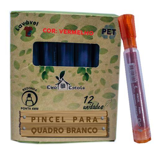 PINCEL QUADRO BRANCO EKO COR VERMELHO - BE10039-VM - EKOESCOLA - CAIXA C/12 UNIDADES