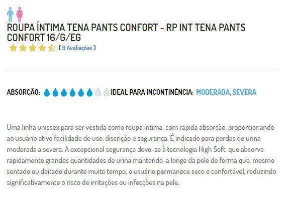 ROUPA ÍNTIMA PANTS CONFORT ECONÔMICA 16 UNIDADES TAM: G/EG - TENA