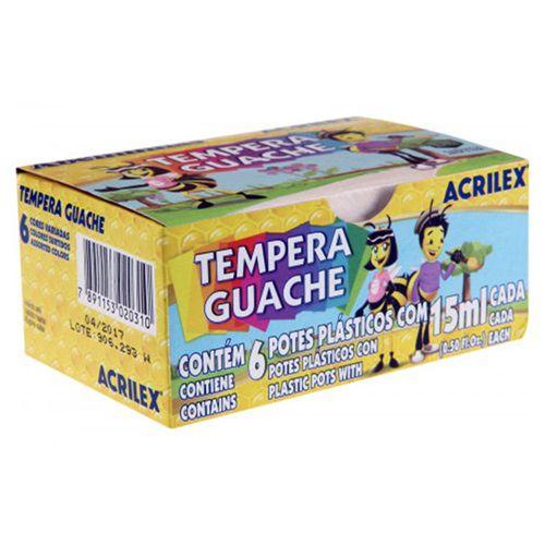 TINTA TEMPERA GUACHE 15ML 6 CORES - 02020 - ACRILEX
