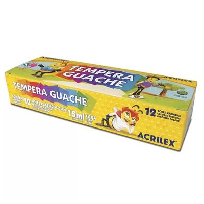 TINTA TEMPERA GUACHE 15 ML 12 CORES - 02012 - ACRILEX