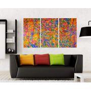 Quadro Abstrato Colorido Linhas Impressão em Canvas Fine Art Cod 7024