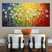 Quadro Pintura Tela Arvores e Flores Modernas Em Altos Relevos Cod 2053