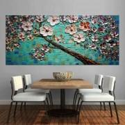 Quadro Pintura Tela Arvores e Flores Modernas Em Altos Relevos Cod 2063