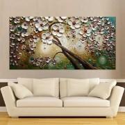 Quadro Pintura Tela Arvores e Flores Modernas Em Altos Relevos Cod 2079