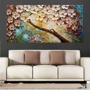 Quadro Pintura Tela Arvores e Flores Modernas Em Altos Relevos Cod 2081