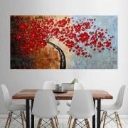 Quadro Pintura Tela Arvores e Flores Modernas Em Altos Relevos Cod 2087