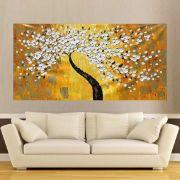 Quadro Pintura Tela Arvores e Flores Modernas Em Altos Relevos Cod 2090