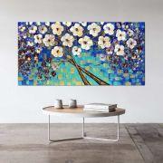 Quadro Pintura Tela Arvores e Flores Modernas Em Altos Relevos Cod 2091