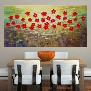Quadro Pintura Tela Arvores e Flores Modernas Em Altos Relevos Cod 2102