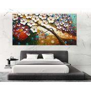 Quadro Pintura Tela Arvores e Flores Modernas Em Altos Relevos Cod 2161