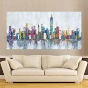 Quadro Pintura Tela Cidade Paisagem Urbana Cod 2444