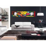 Quadro Pintura Tela O abraço 30x100cm