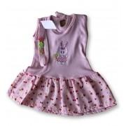 Vestido Com Tiara Bebê Recém Nascido Feminino Menina Cod 9094
