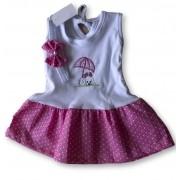Vestido Com Tiara Bebê Recém Nascido Feminino Menina Cod 9101