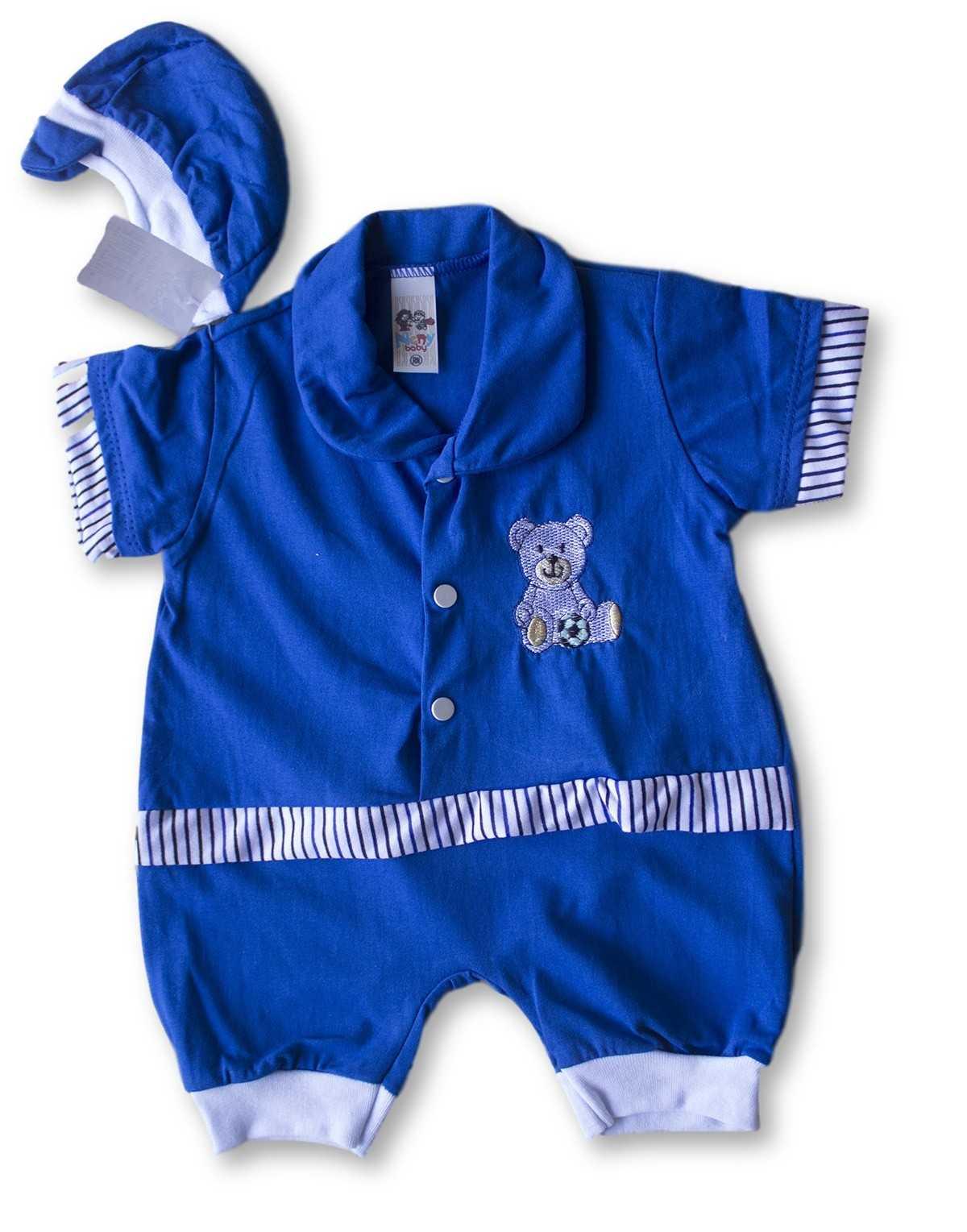 Macacão Bebe Recém Nascido Masculino Bordado Cod 9068