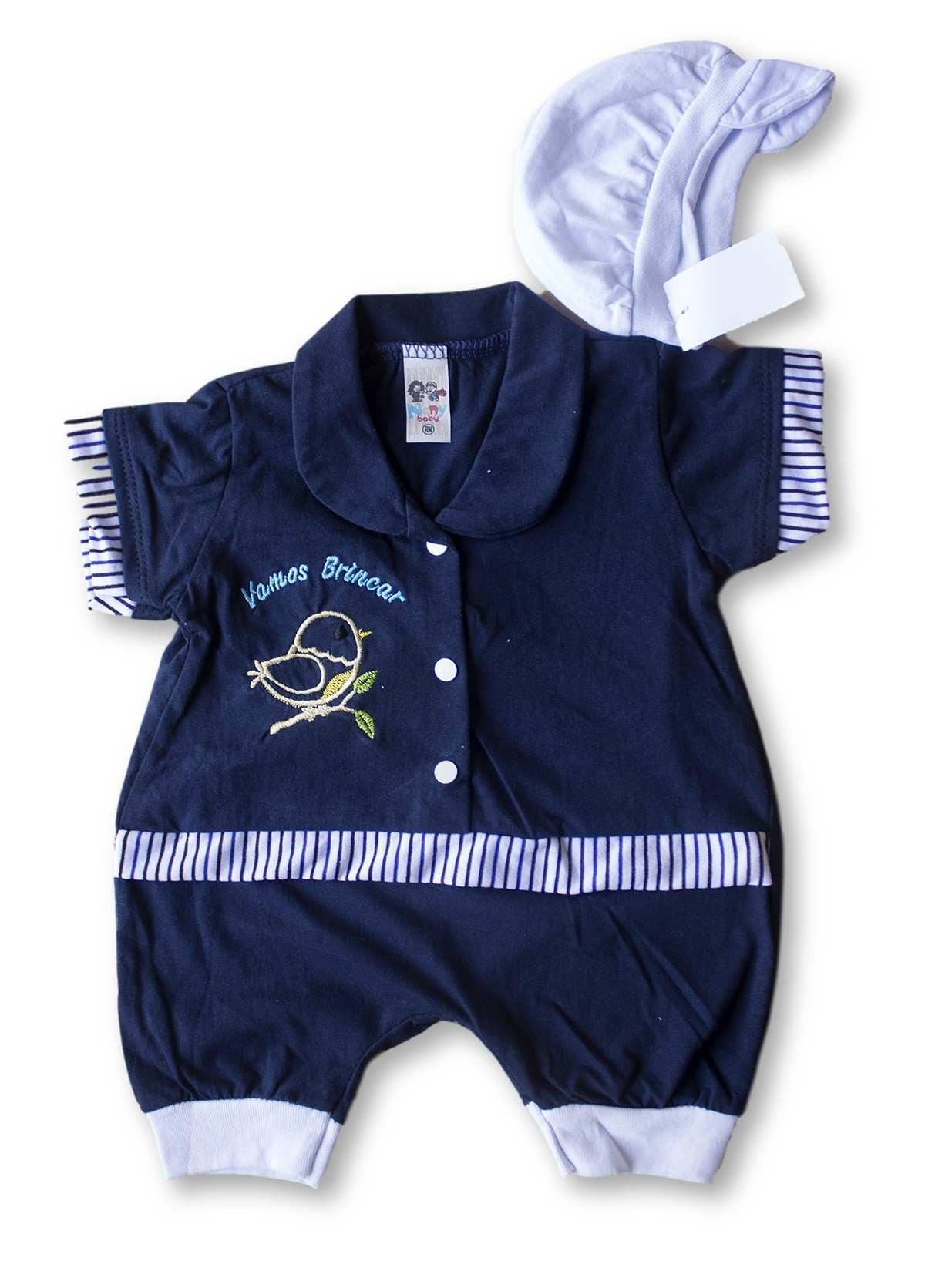 Macacão Bebe Recém Nascido Masculino Bordado Cod 9069
