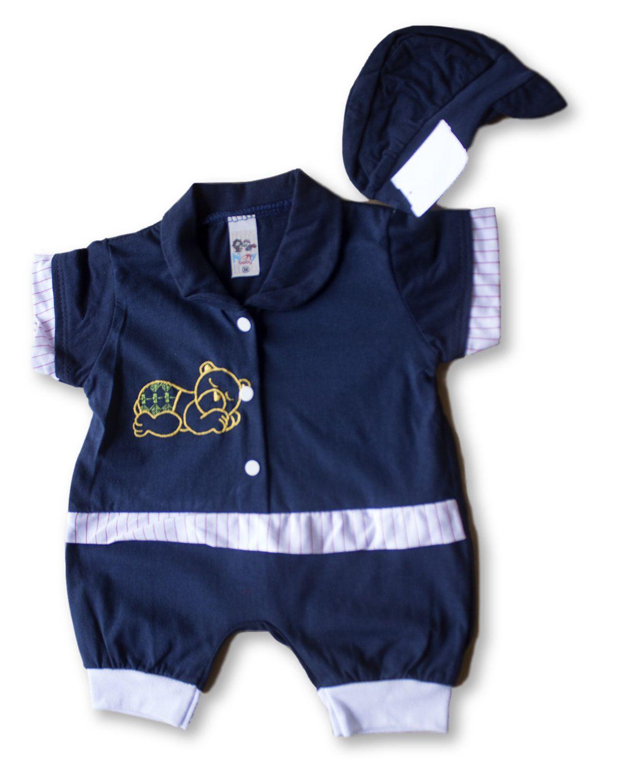 Macacão Bebe Recém Nascido Masculino Bordado Cod 9071