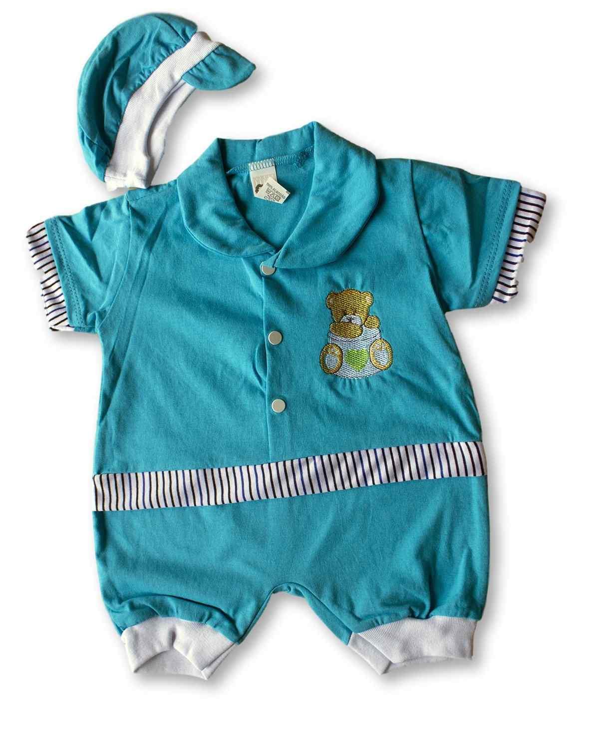 Macacão Bebe Recém Nascido Masculino Bordado Cod 9072