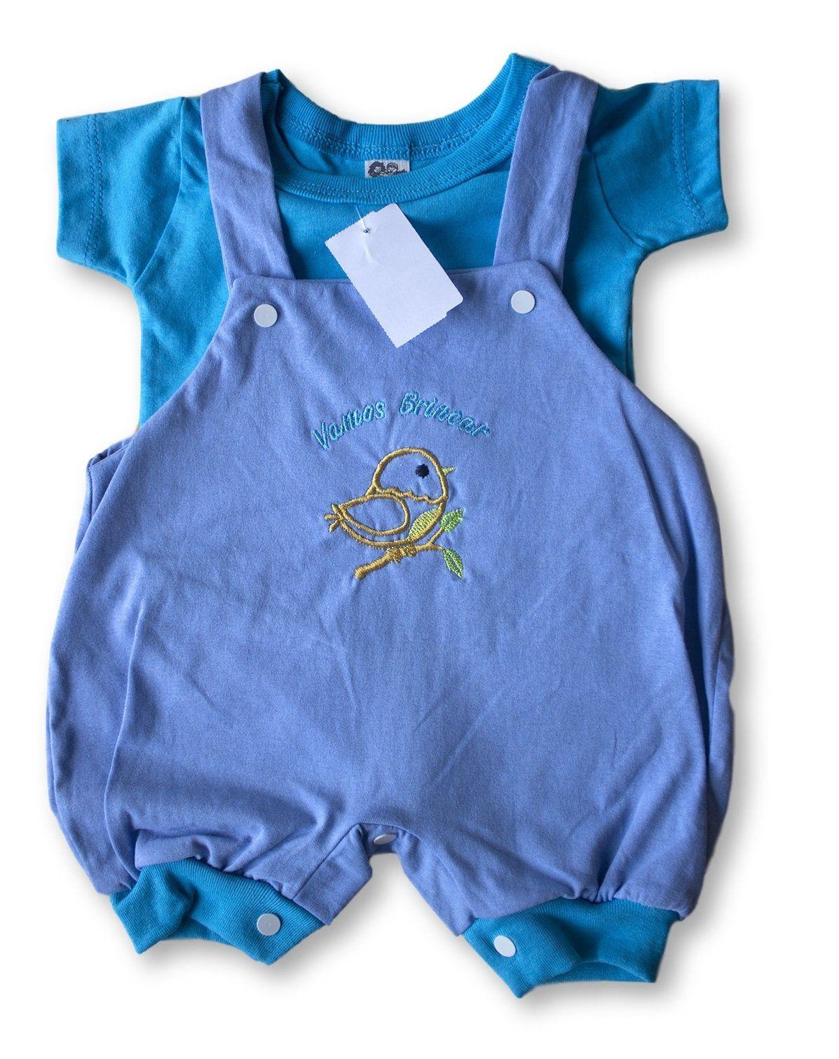 Macacão Bebe Recém Nascido Masculino Bordado Cod 9078