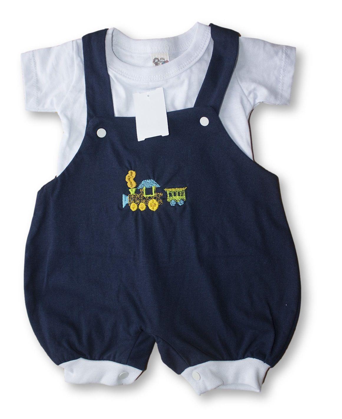 Macacão Bebe Recém Nascido Masculino Bordado Cod 9079