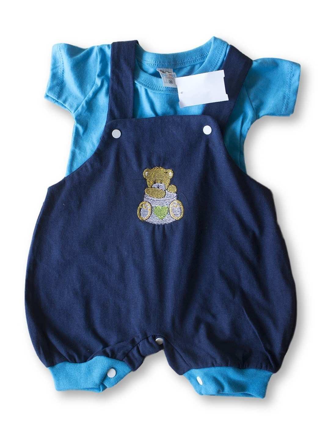 Macacão Bebe Recém Nascido Masculino Bordado Cod 9080