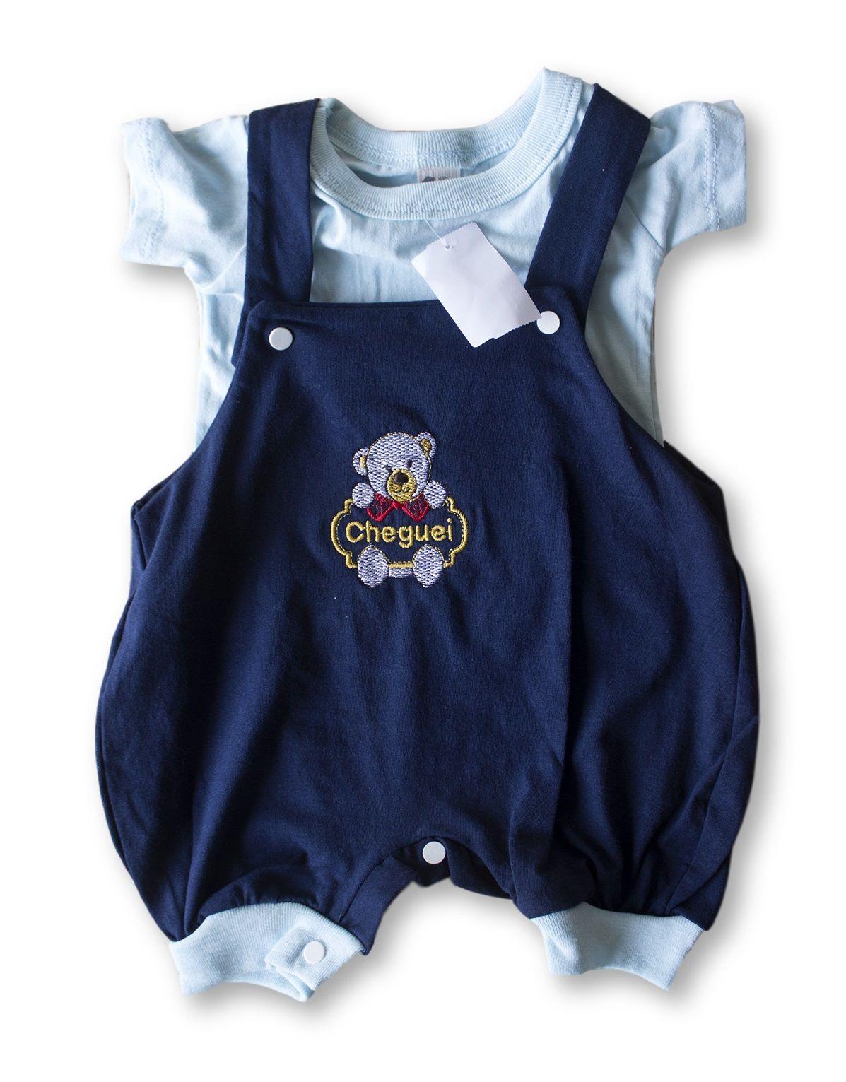 Macacão Bebe Recém Nascido Masculino Bordado Cod 9081