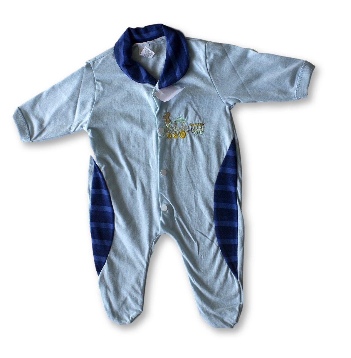 Macacão Bebe Recém Nascido Masculino Bordado Cod 9115